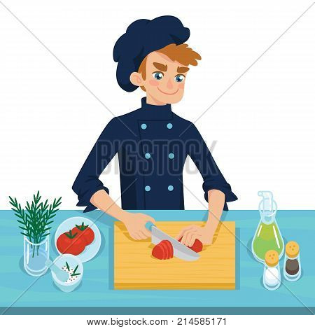 Happy young cook slicing tomato on chopping board. Colorful vector illustration of boy cooking vegetable in cartoon style on a white background. Different ingredients on the table.