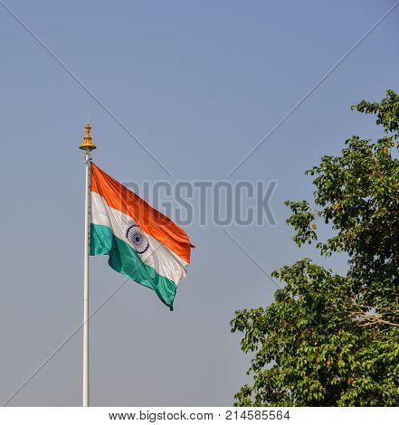 An Indian Flag Flying In Sunny Day