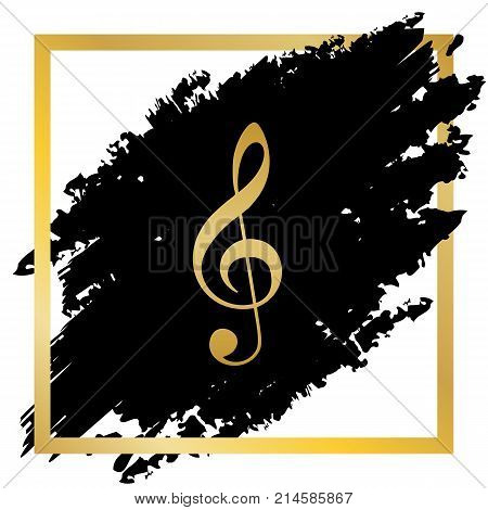 Music violin clef sign. G-clef. Treble clef. Vector. Golden icon at black spot inside golden frame on white background.