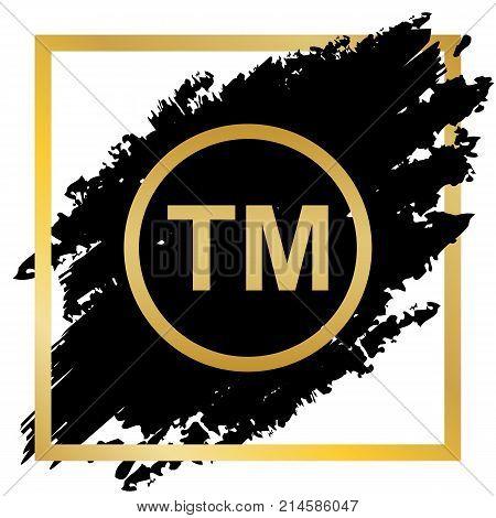 Trade mark sign. Vector. Golden icon at black spot inside golden frame on white background.