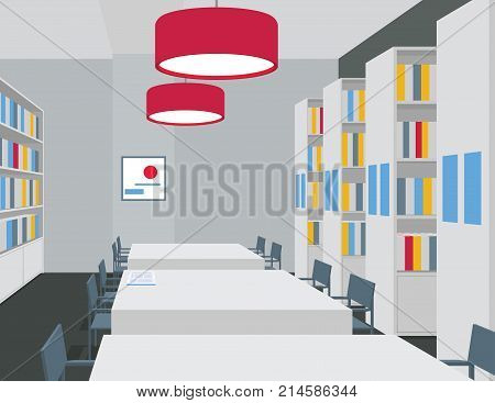 Library interior with tables, chairs, bookcases, lights. Perspective view. Empty space. Vector illustration of reading room. Shades of gray and bright red. Scene for design. Horizontal composition.