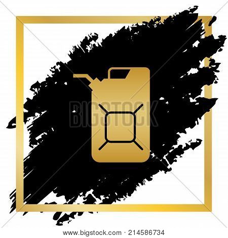 Jerrycan oil sign. Jerry can oil sign. Vector. Golden icon at black spot inside golden frame on white background.
