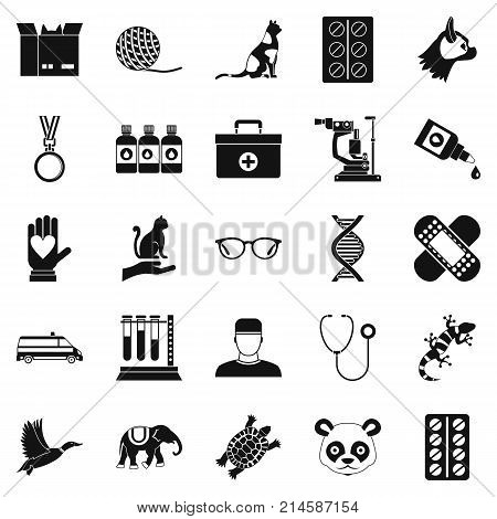 Veterinary surgeon icons set. Simple set of 25 veterinary surgeon vector icons for web isolated on white background