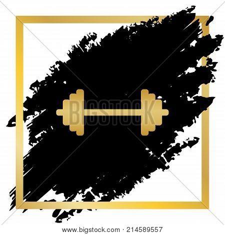 Dumbbell weights sign. Vector. Golden icon at black spot inside golden frame on white background.