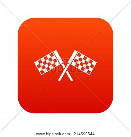 Crossed chequered flags icon digital red for any design isolated on white vector illustration