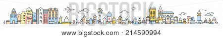 Big Set Of Urban European City With Tree, Cloud, Air Balloon And Air Plane. Vector Colorful Illustra