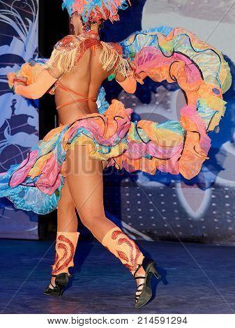 Dancer of Latin American dances performs his number