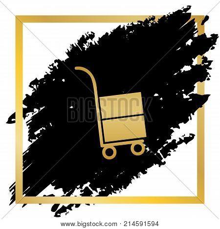 Hand truck sign. Vector. Golden icon at black spot inside golden frame on white background.