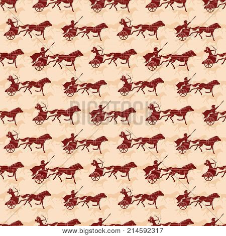 Seamless pattern for background with war chariots.