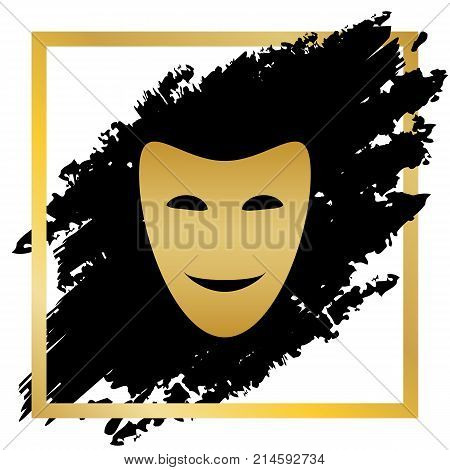 Comedy theatrical masks. Vector. Golden icon at black spot inside golden frame on white background.