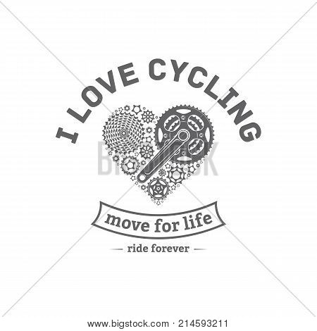 vector illustration of a bicycle emblem in the style of the heart on a white background for design and advertising