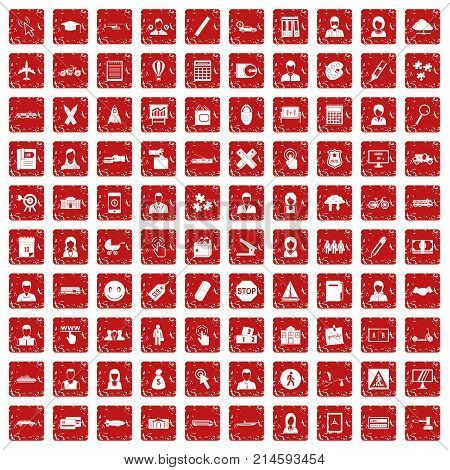 100 initiation icons set in grunge style red color isolated on white background vector illustration