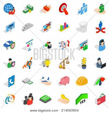 Speaking icons set. Isometric style of 36 speaking vector icons for web isolated on white background
