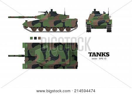 Realistic tank blueprint. Armored car with camouflage on white background. Top side front views. Army weapon. War transport. Vector illustration