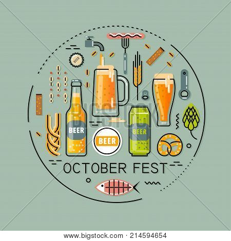 Vector flat line round illustration for beer festival on turquoise background. Bottles and glasses of beer accessories and snacks.
