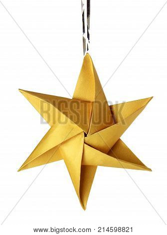 Christmas celebration golden star on a white background