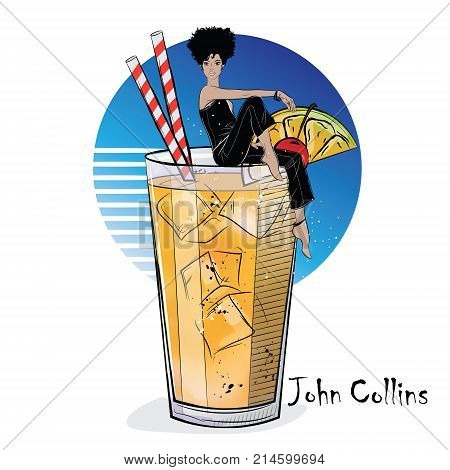 Hand drawn illustration of cocktail with girl. John Collins. Vector illustration