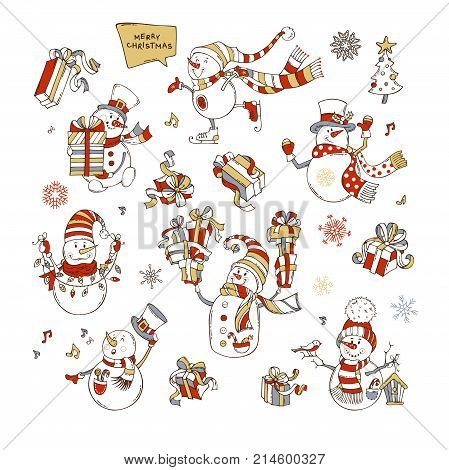 Vector Set Of Cute Snowmen.