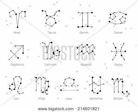 Horoscope, all Zodiac signs in constellation style with line and stars isolated on white background. Collection of zodiac signs, thirteen of white elements, stars and constellations set on deep night sky.