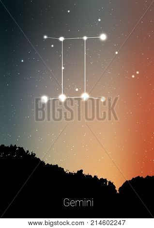 Gemini zodiac constellations sign with forest landscape silhouette on beautiful starry sky with galaxy and space behind. Gemini horoscope symbol constellation on deep cosmos view