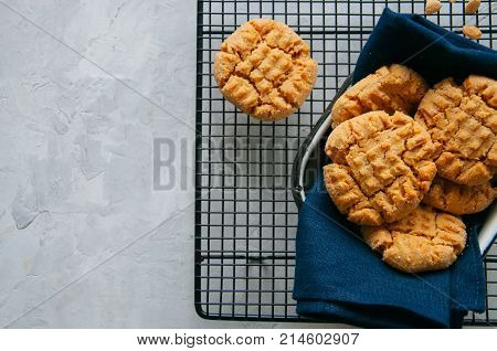 Homemade Peanut Butter Cookies On A Wire Rack. Gray Background. Rustic Style.