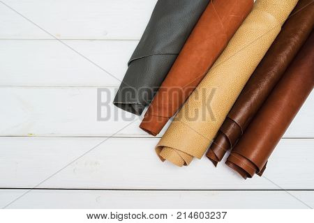 Leather craft Work table of leather wood