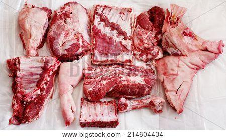 Meat pig regional food theme truncated pork