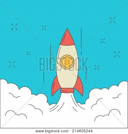 Line flat design vector illustration of rocket with bitcon taking off into space. Concept start up