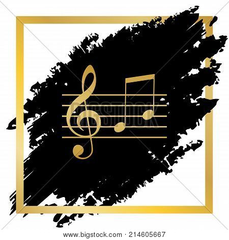 Music violin clef sign. G-clef and notes G, H. Vector. Golden icon at black spot inside golden frame on white background.