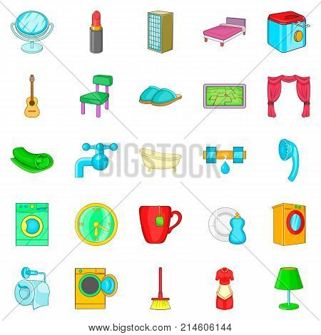 Apartment building icons set. Cartoon set of 25 apartment building vector icons for web isolated on white background