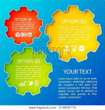 Abstract web design business background with your text and description of options on bright elements flat vector illustration