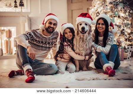 Family With Dog On New Year's Eve