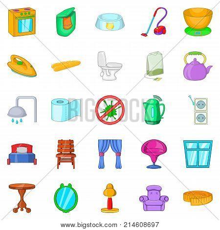 Quarter icons set. Cartoon set of 25 quarter vector icons for web isolated on white background