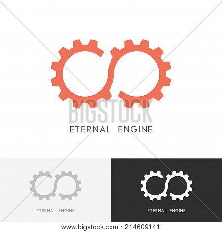 Eternal engine logo - gear wheel or pinion and infinity symbol. Perpetuum mobile, industry and mechanical engineering vector icon.