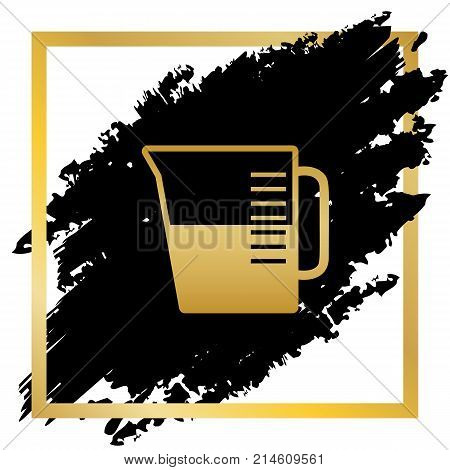Beaker sign. Vector. Golden icon at black spot inside golden frame on white background.