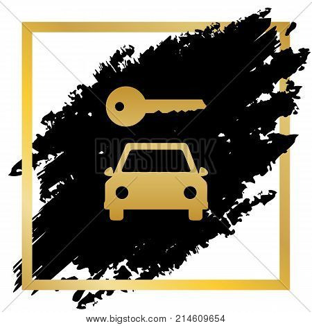 Car key simplistic sign. Vector. Golden icon at black spot inside golden frame on white background.