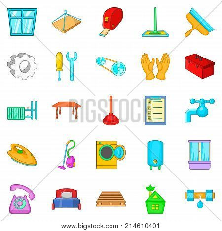 Apartment renovation icons set. Cartoon set of 25 apartment renovation vector icons for web isolated on white background