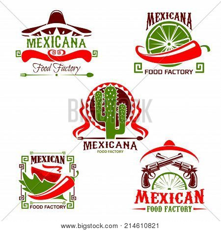 Mexican food restaurant of national cuisine symbol set. Meat taco, chili pepper and tomato sauce vector icon with sombrero hat , cactus and gun for fast food emblem and delivery service design