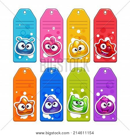 Colorful labels with funny jelly cartoon characters. Vector tag templates set. Isolated on white background.