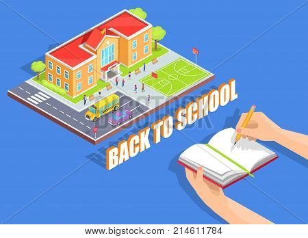 Back to school isolated vector illustration on blue. Cartoon style educational institution and notebook held in left hand with pencil in right one