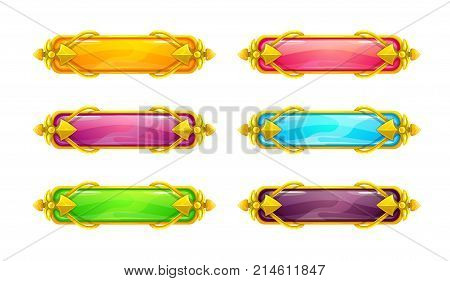 Beautiful colorful long horizontal buttons with golden border. Vector assets for web or game design. Decorative GUI elements, isolated on white background. Title banners in fantasy style. poster