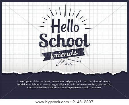 Hello school friends black-and-white sticker with inscription. Vector illustration of plastic ruler and graphite pencil on checkered background