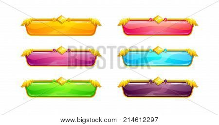 Beautiful colorful long horizontal buttons with golden border. Vector assets for web or game design. Decorative GUI elements, isolated on white background. Title banners in fantasy style.
