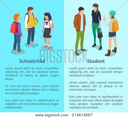 Schoolchild and student collection of posters with text. Isolated vector illustration of groups of boys and girls talking during break