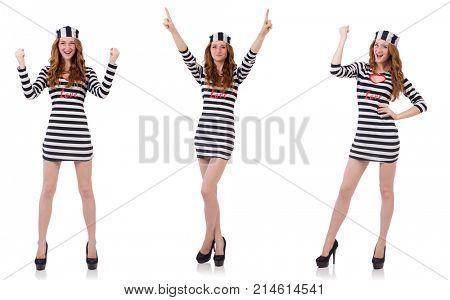 Pretty girl in prisoner uniform isolated on white