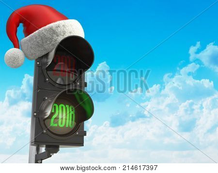 Happy new year 2018. Santa hat on the traffic light with green light 2018. 3d illustration