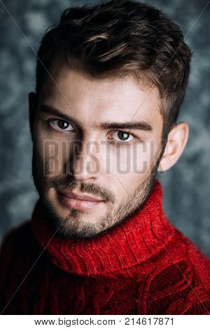 Portrait of a handsome young man in a warm sweater. Autumn, winter clothes. Male beauty, fashion.