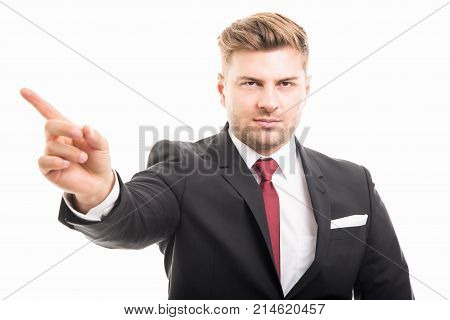 Portrait Of Handsome Corporate Business Man Showing Denial Gesture