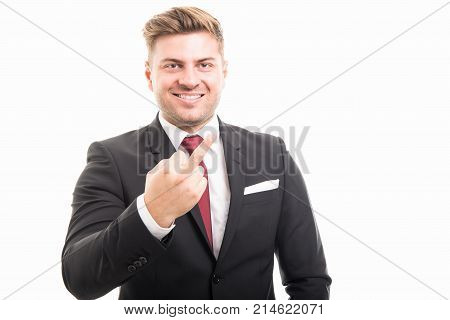 Portrait Of Handsome Corporate Business Man Showing Middle Finger