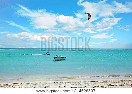 Kite surfing at Aruba island in the caribbean sea